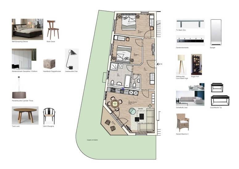 Grundriss und Möblierung der Wohnung 13