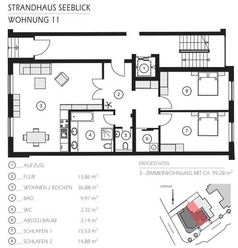 Grundriss Wohnung 11 Strandhaus Seeblick Binz