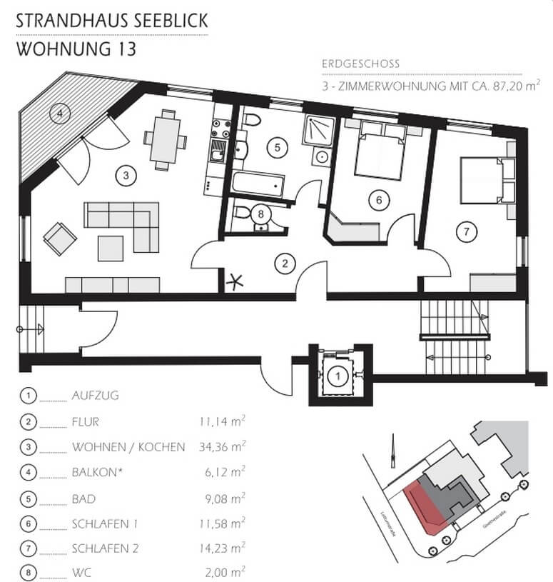 Grundriss Wohnung 13 Strandhaus Seeblick Binz