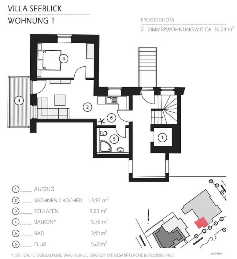 Grundriss Villa Seeblick Binz Ferienwohnung 01