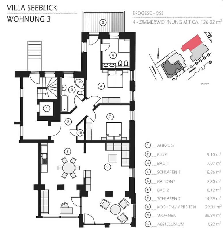 Grundriss Villa Seeblick Ferienwohnung 03