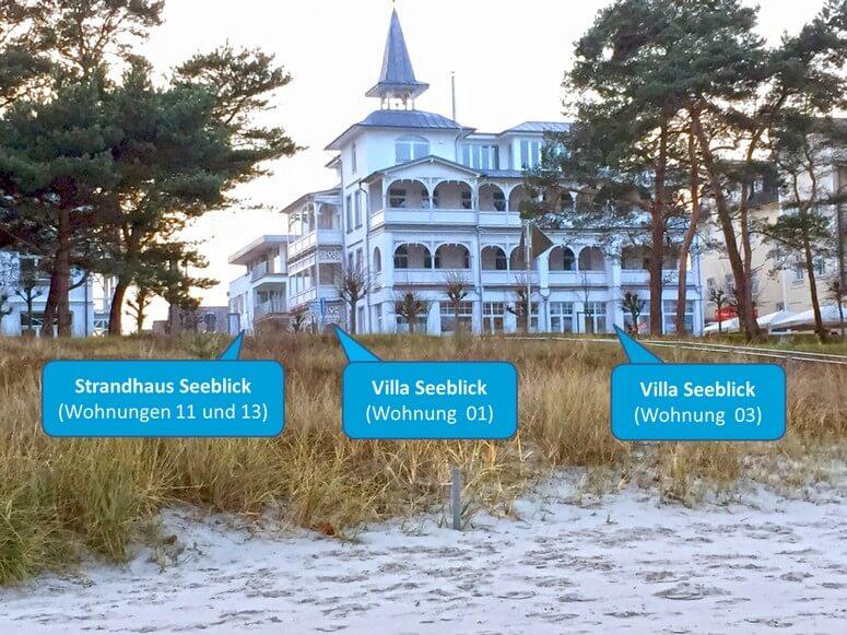 Villa Seeblick und Strandhaus Seeblick vom Strand gesehen